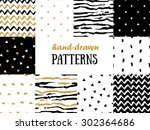Set of abstract seamless patterns in gold, white and black