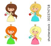 a cute collection of beautiful...   Shutterstock .eps vector #302374718