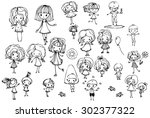 happy kid cartoon doodle... | Shutterstock .eps vector #302377322