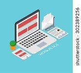 vector modern concept 3d... | Shutterstock .eps vector #302389256