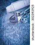 steel adjustable spanner... | Shutterstock . vector #302392925