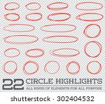 red hand drawn circles rounds... | Shutterstock .eps vector #302404532
