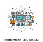 thin line flat design of social ... | Shutterstock .eps vector #302406632