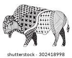 bison zentangle stylized ... | Shutterstock .eps vector #302418998