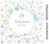 set of baby shower design... | Shutterstock .eps vector #302424962