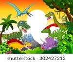 dinosaur cartoon with landscape ... | Shutterstock .eps vector #302427212