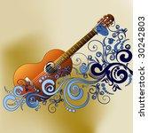 grunge style guitar background | Shutterstock .eps vector #30242803