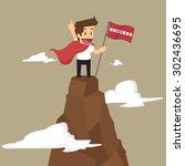 businessman holding a flag that ... | Shutterstock .eps vector #302436695