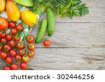 fresh ripe vegetables on garden ... | Shutterstock . vector #302446256