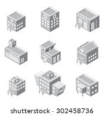 isometric hospital building icon | Shutterstock .eps vector #302458736
