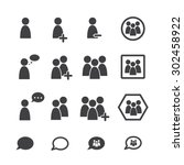people icon set | Shutterstock .eps vector #302458922