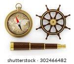 vintage telescope  ship wheel... | Shutterstock . vector #302466482