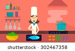 cooking process. happy chef at... | Shutterstock .eps vector #302467358