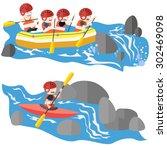 Rafting And Kayaking Sport Flat ...
