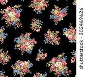 rose flower pattern  | Shutterstock .eps vector #302469626
