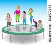 little kids jumping on... | Shutterstock .eps vector #302470196