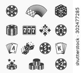 gambling icons set.  card and... | Shutterstock .eps vector #302477285