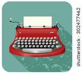 retro typewriter on blue... | Shutterstock .eps vector #302477462