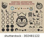 hunting and adventure badge... | Shutterstock .eps vector #302481122