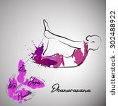 yoga pose with color splash ... | Shutterstock .eps vector #302488922