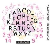 black pink alphabet uppercase... | Shutterstock .eps vector #302503952