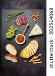 wine appetizers set  cheese... | Shutterstock . vector #302514068