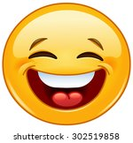 emoticon laughing with closed... | Shutterstock .eps vector #302519858