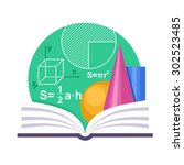 geometry emblem with a book and ... | Shutterstock .eps vector #302523485