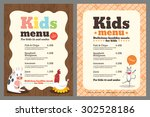 cute colorful kids meal menu... | Shutterstock .eps vector #302528186