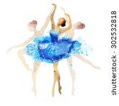 Ballerina In Blue Vector...