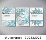set of notebooks with mandala... | Shutterstock .eps vector #302533028