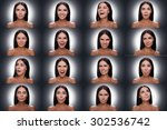Small photo of Diverse emotions. Collage of beautiful young shitless woman expressing diverse emotions while standing against grey background