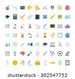 education icon set. flat vector ... | Shutterstock .eps vector #302547752