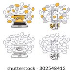 the social media background... | Shutterstock .eps vector #302548412