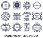 set luxury logos template... | Shutterstock .eps vector #302548955