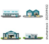 warehouse building flat icons... | Shutterstock .eps vector #302549432