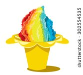 shaved ice sweet cone...   Shutterstock .eps vector #302554535