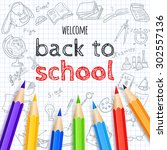 welcome back to school... | Shutterstock .eps vector #302557136
