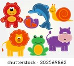 vector animals set kids stickers | Shutterstock .eps vector #302569862