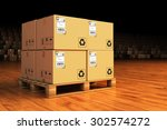 distribution warehouse  package ... | Shutterstock . vector #302574272