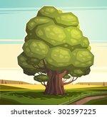 old oak tree. vector... | Shutterstock .eps vector #302597225