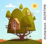 tree house. kids background.... | Shutterstock .eps vector #302597498
