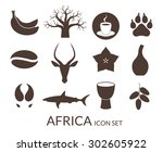 africa. icon set. vector... | Shutterstock .eps vector #302605922