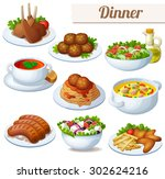 Set Of Food Icons Isolated On...