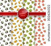 set of seamless pattern of... | Shutterstock .eps vector #302626322