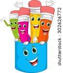 happy colorful pencil cartoon | Shutterstock . vector #302626772