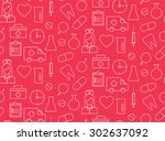 seamless pattern with medical... | Shutterstock .eps vector #302637092