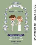 rustic cartoon couple wedding... | Shutterstock .eps vector #302642732