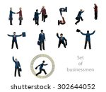 set of of 3d businessmen. a... | Shutterstock .eps vector #302644052