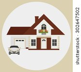 provincial house with a garage... | Shutterstock .eps vector #302647502
